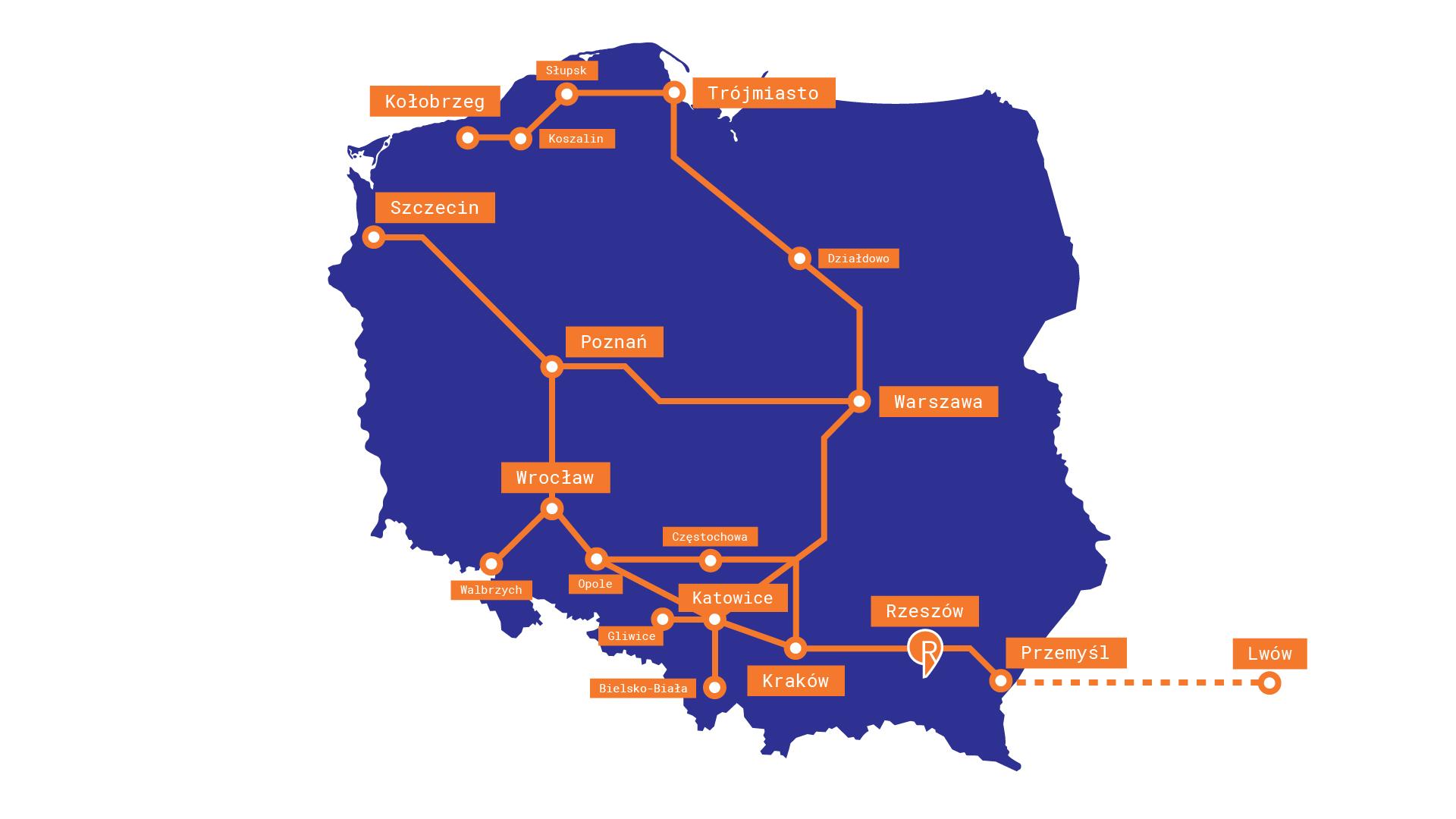 Mapa - pociągi